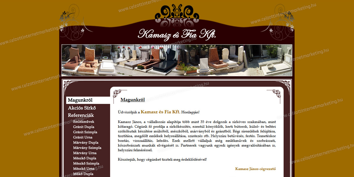 Kamasz és Fia Kft. - Sírkőkészítés | www.kamaszesfia.hu