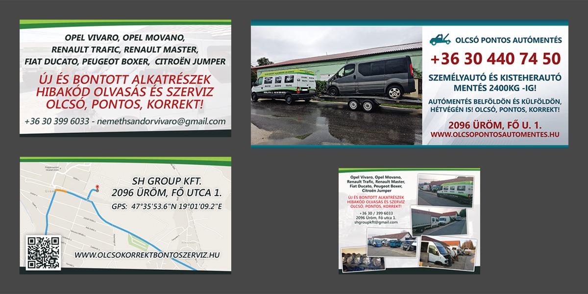 SH Group Kft.   Névjegykártya, molinó, hirdetés poszter