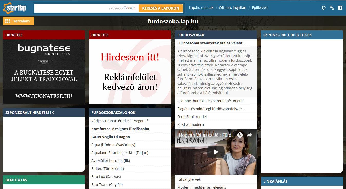 Kedvezményes reklámmegjelenés Fürdőszoba témájú Lap.hu oldalakon!